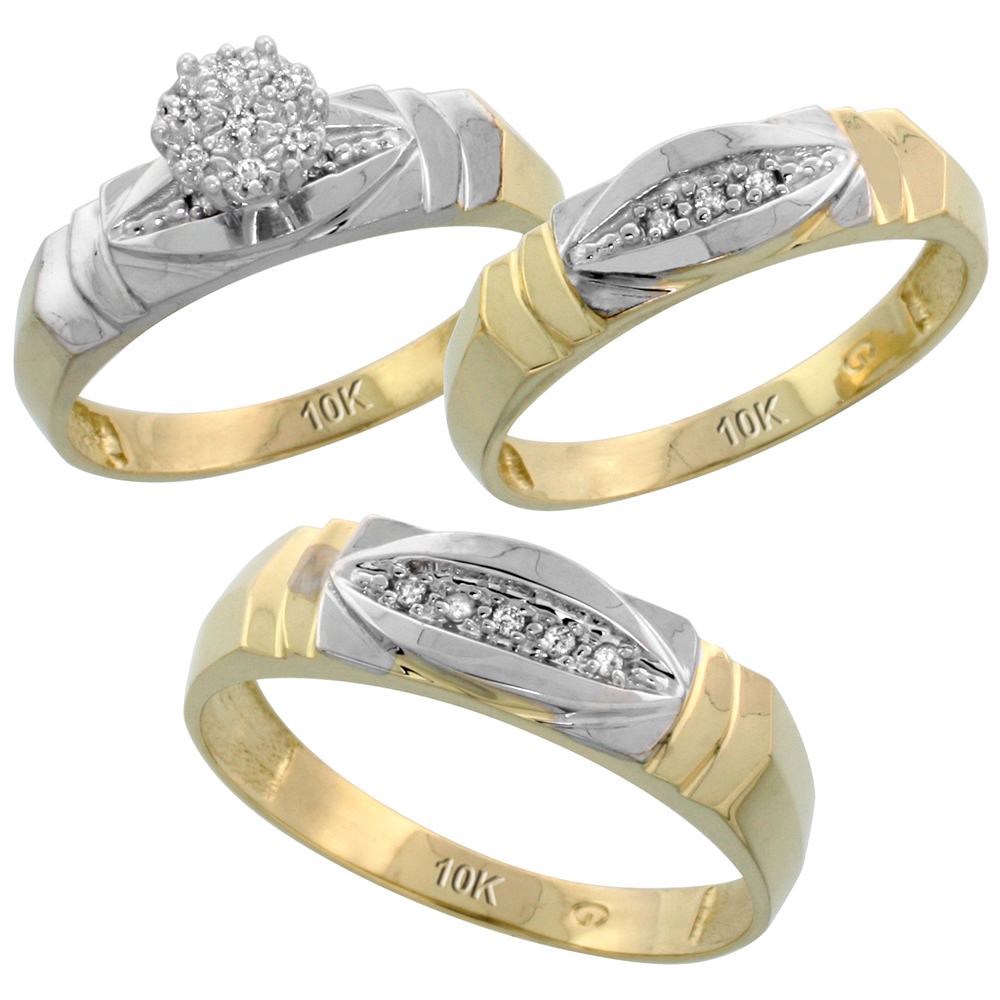 10k Yellow Gold Trio Engagement Wedding Ring Set for Him and Her 3-piece 6 mm & 5 mm wide 0.09 cttw Brilliant Cut, ladies sizes 5 � 10, mens sizes 8 - 14