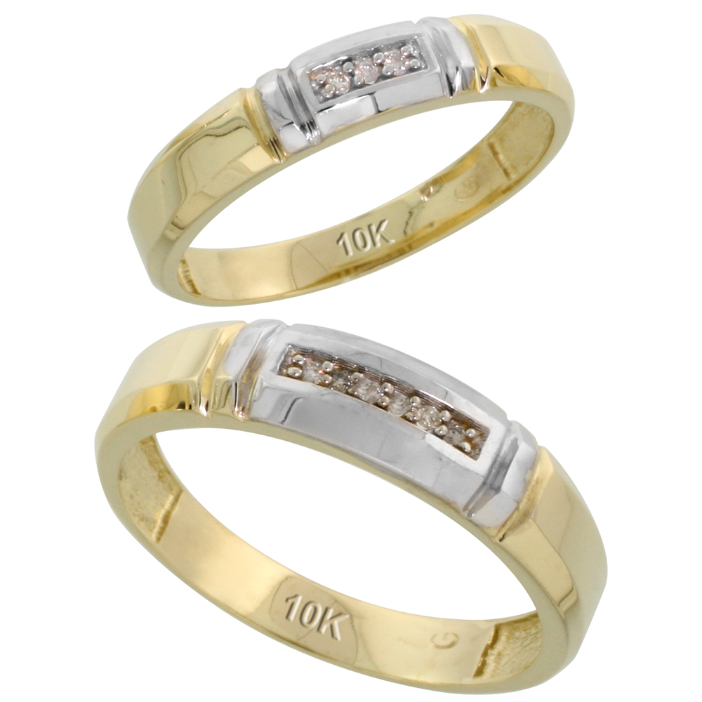 10k Yellow Gold Diamond Wedding Rings Set for him 5.5 mm and her 4 mm 2-Piece 0.05 cttw Brilliant Cut, ladies sizes 5 � 10, mens sizes 8 - 14