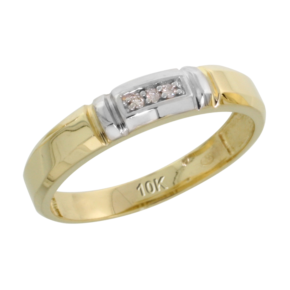 10k Yellow Gold Ladies' Diamond Wedding Band, 5/32 inch wide