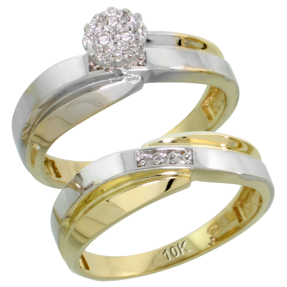10k Yellow Gold Diamond Engagement Ring Set 2-Piece 0.07 cttw Brilliant Cut, 1/4 inch 6mm wide