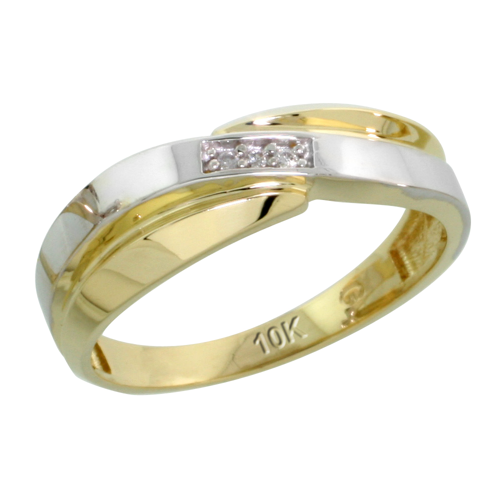 10k Yellow Gold Ladies Diamond Wedding Band Ring 0.02 cttw Brilliant Cut, 1/4 inch 6mm wide