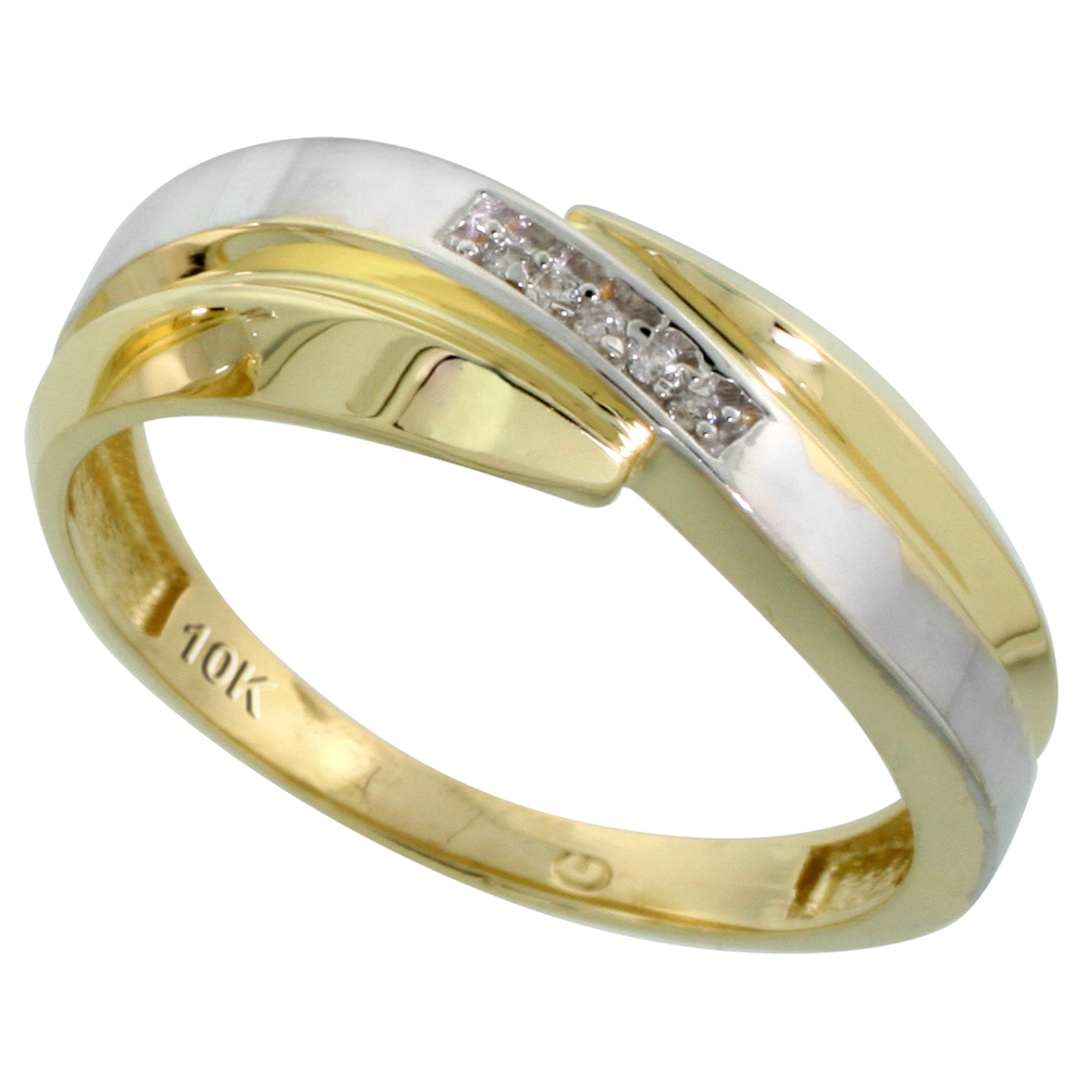 10k Yellow Gold Mens Diamond Wedding Band Ring 0.03 cttw Brilliant Cut, 9/32 inch 7mm wide