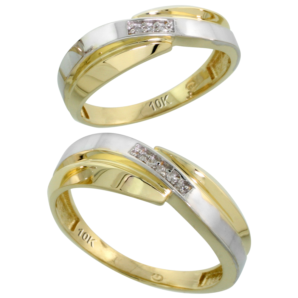 10k Yellow Gold Diamond Wedding Rings Set for him 7 mm and her 6 mm 2-Piece 0.05 cttw Brilliant Cut, ladies sizes 5 � 10, mens sizes 8 - 14