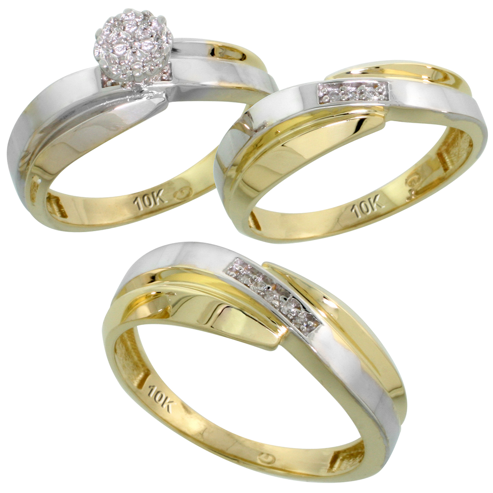 10k Yellow Gold Diamond Trio Engagement Wedding Ring Set for Him and Her 3-piece 7 mm & 6 mm wide 0.10 cttw Brilliant Cut, ladies sizes 5 � 10, mens sizes 8 - 14