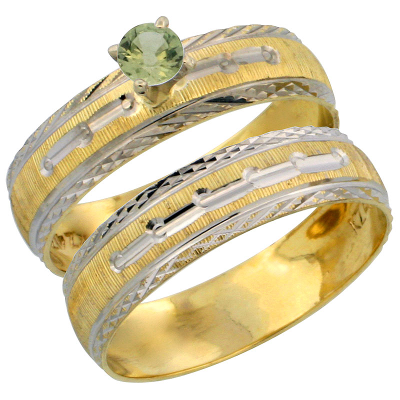 10k Gold Ladies' 2-Piece 0.25 Carat Green Sapphire Engagement Ring Set Diamond-cut Pattern Rhodium Accent, 3/16 in. (4.5mm) wide, Sizes 5 - 10