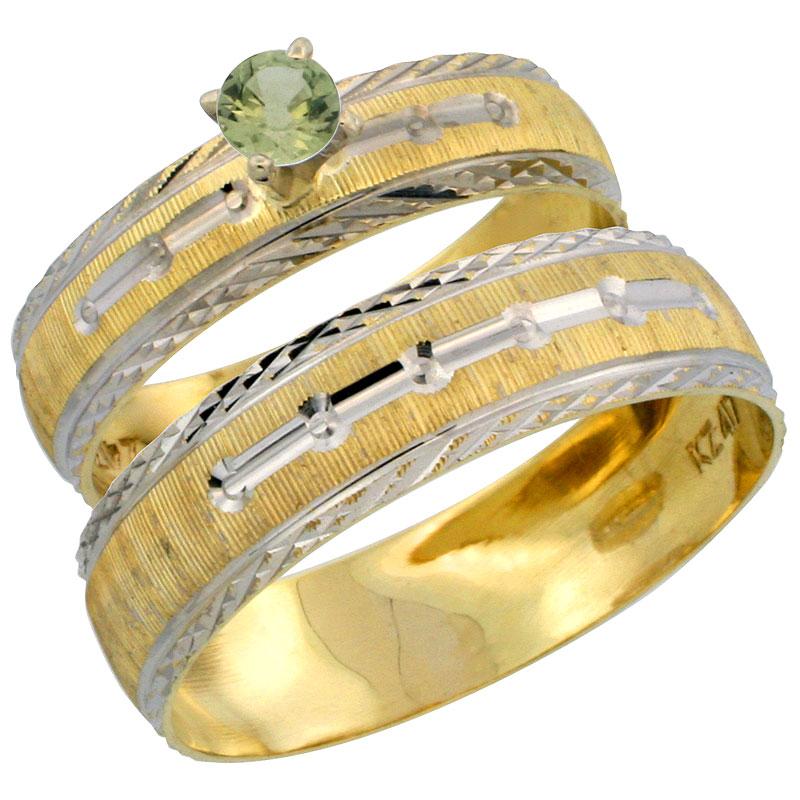 10k Gold 2-Piece 0.25 Carat Green Sapphire Ring Set (Engagement Ring & Man's Wedding Band) Diamond-cut Pattern Rhodium Accent, (4.5mm; 5.5mm) wide , Ladies' Sizes 5 - 10 & Men's Size 8 - 14