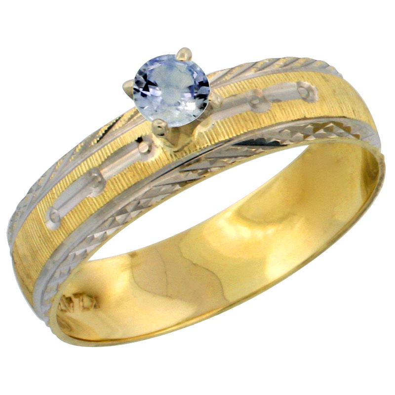 10k Gold Ladies' Solitaire 0.25 Carat Light Blue Sapphire Engagement Ring Diamond-cut Pattern Rhodium Accent, 3/16 in. (4.5mm) wide, Sizes 5 - 10