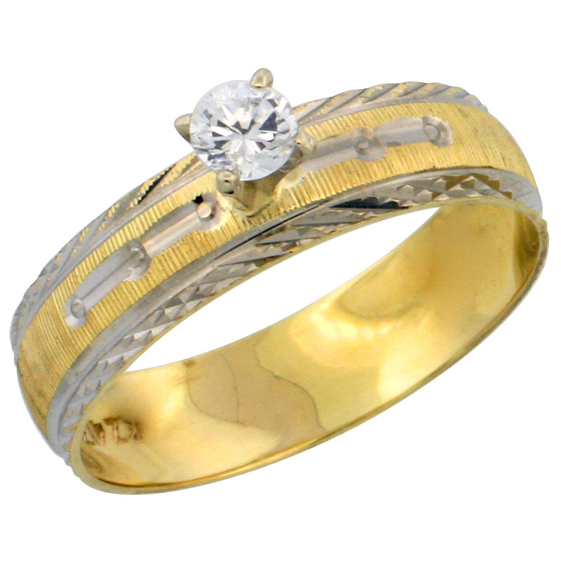 10k Gold Ladies' Solitaire 0.25 Carat White Sapphire Engagement Ring Diamond-cut Pattern Rhodium Accent, 3/16 in. (4.5mm) wide, Sizes 5 - 10