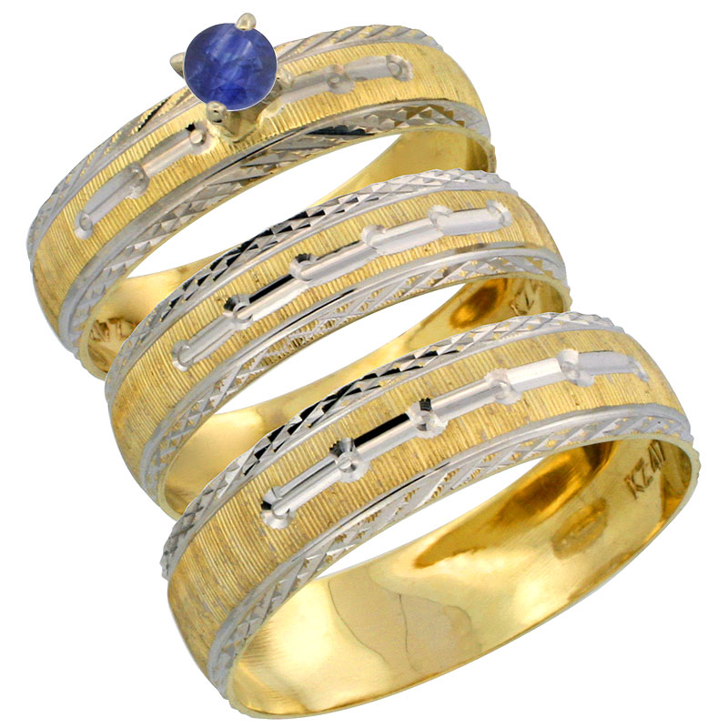 10k Gold 3-Piece Trio Blue Sapphire Wedding Ring Set Him & Her 0.10 ct Rhodium Accent Diamond-cut Pattern, Ladies Sizes 5 - 10 & Men's Sizes 8 - 14