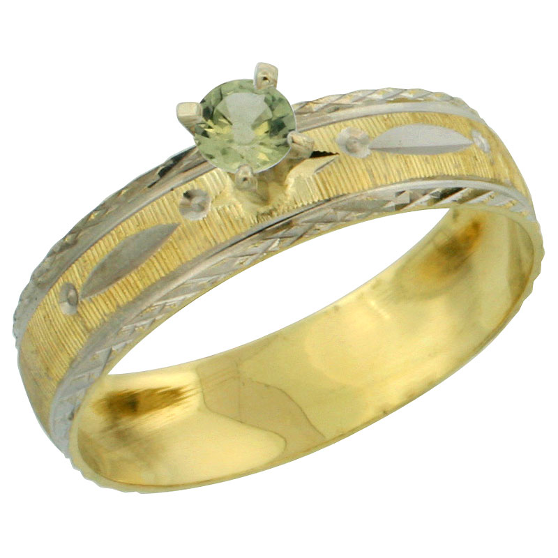 10k Gold Ladies' Solitaire 0.25 Carat Green Sapphire Engagement Ring Diamond-cut Pattern Rhodium Accent, 3/16 in. (4.5mm) wide, Sizes 5 - 10