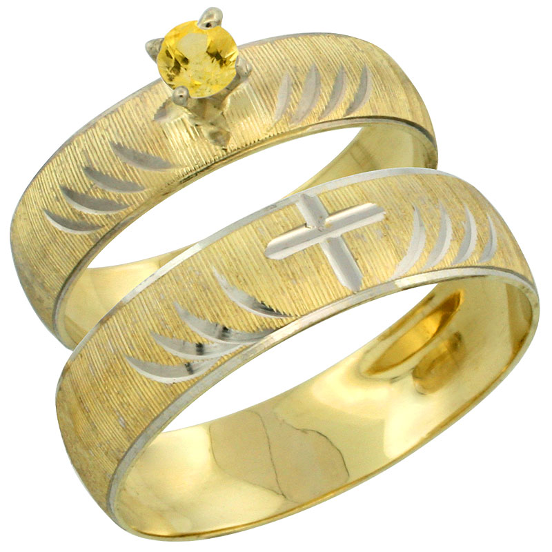 10k Gold 2-Piece 0.25 Carat Yellow Sapphire Ring Set (Engagement Ring & Man's Wedding Band) Diamond-cut Pattern Rhodium Accent, (4.5mm; 5.5mm) wide , Ladies' Sizes 5 - 10 & Men's Size 8 - 14