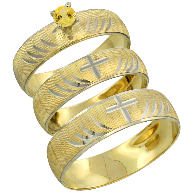 10k Gold 3-Piece Trio Yellow Sapphire Wedding Ring Set Him & Her 0.10 ct Rhodium Accent Diamond-cut Pattern, Ladies Sizes 5 - 10 & Men's Sizes 8 - 14