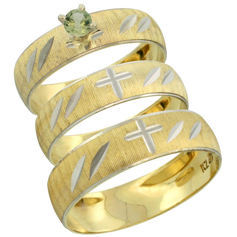 10k Gold 3-Piece Trio Green Sapphire Wedding Ring Set Him & Her 0.10 ct Rhodium Accent Diamond-cut Pattern, Ladies Sizes 5 - 10 & Men's Sizes 8 - 14