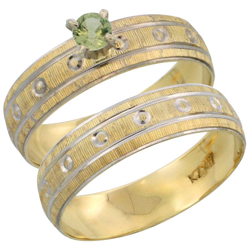 10k Gold Ladies' 2-Piece 0.25 Carat Green Sapphire Engagement Ring Set Diamond-cut Pattern Rhodium Accent, 3/16 in. (4.5mm) wide, Sizes 5 - 10