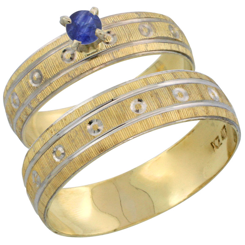 10k Gold 2-Piece 0.25 Carat Deep Blue Sapphire Ring Set (Engagement Ring & Man's Wedding Band) Diamond-cut Pattern Rhodium Accent, (4.5mm; 5.5mm) wide , Ladies' Sizes 5 - 10 & Men's Size 8 - 14