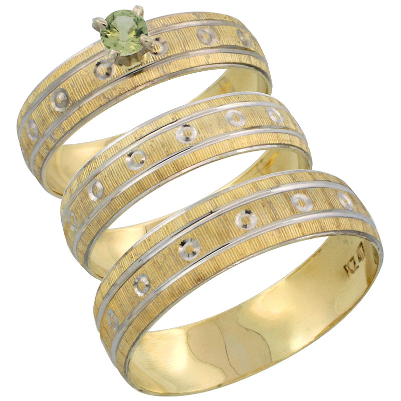 10k Gold 3-Piece Trio Green Sapphire Wedding Ring Set Him & Her 0.10 ct Rhodium Accent Diamond-cut Pattern, Ladies Sizes 5 - 10 & Men's Sizes 8 - 14