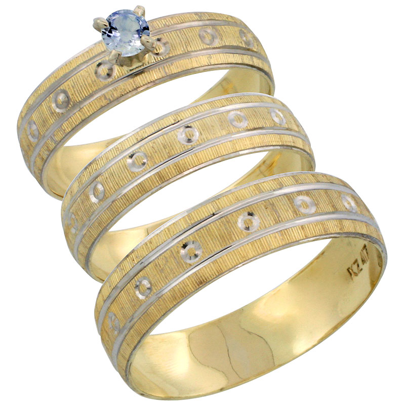 10k Gold 3-Piece Trio Light Blue Sapphire Wedding Ring Set Him & Her 0.10 ct Rhodium Accent Diamond-cut Pattern, Ladies Sizes 5 - 10 & Men's Sizes 8 - 14