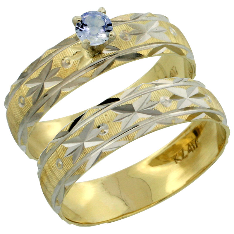 10k Gold Ladies' 2-Piece 0.25 Carat Light Blue Sapphire Engagement Ring Set Diamond-cut Pattern Rhodium Accent, 3/16 in. (4.5mm) wide, Sizes 5 - 10