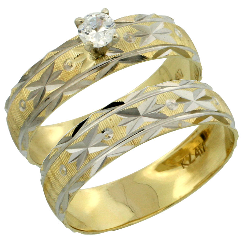 10k Gold Ladies' 2-Piece 0.25 Carat White Sapphire Engagement Ring Set Diamond-cut Pattern Rhodium Accent, 3/16 in. (4.5mm) wide, Sizes 5 - 10