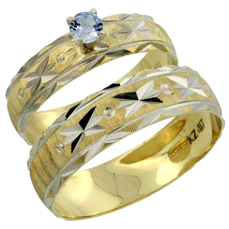10k Gold 2-Piece 0.25 Carat Light Blue Sapphire Ring Set (Engagement Ring & Man's Wedding Band) Diamond-cut Pattern Rhodium Accent, (4.5mm; 5.5mm) wide , Ladies' Sizes 5 - 10 & Men's Size 8 - 14