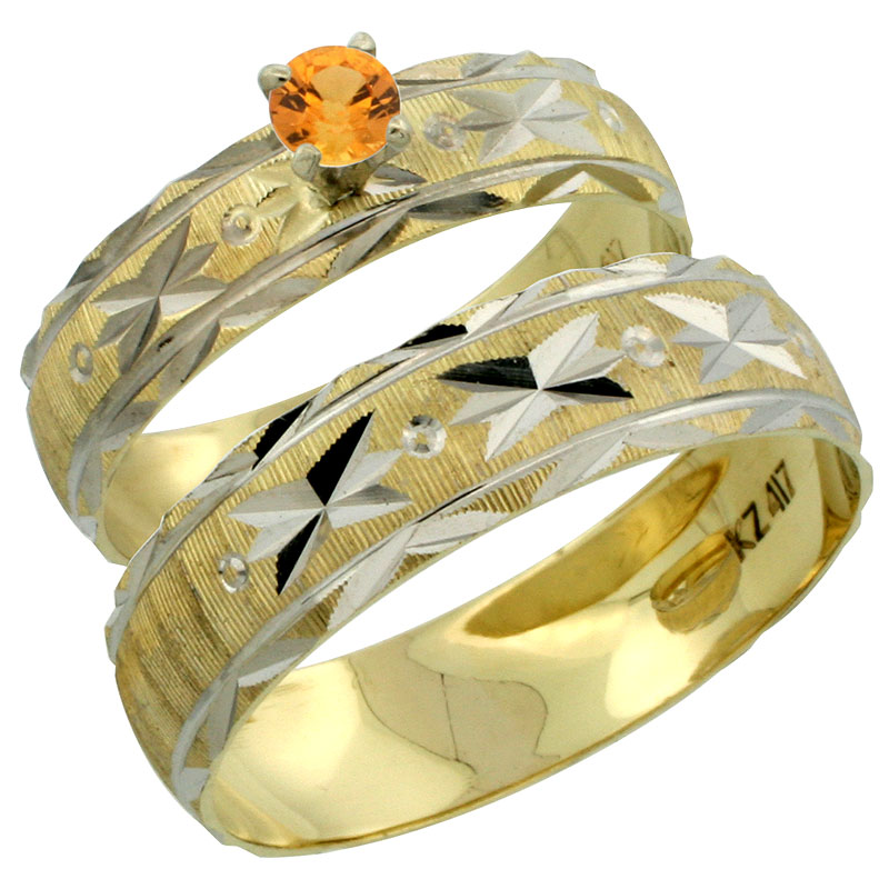10k Gold 2-Piece 0.25 Carat Orange Sapphire Ring Set (Engagement Ring & Man's Wedding Band) Diamond-cut Pattern Rhodium Accent, (4.5mm; 5.5mm) wide , Ladies' Sizes 5 - 10 & Men's Size 8 - 14