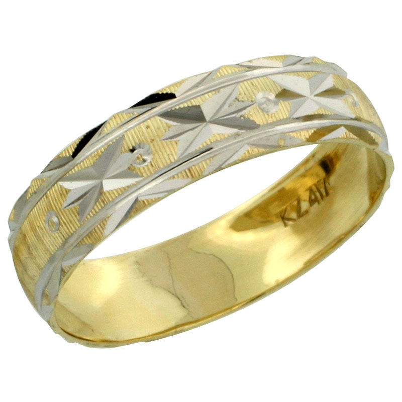 10k Gold Ladies' Wedding Band Ring Diamond-cut Pattern Rhodium Accent, 3/16 in. (4.5mm) wide, Sizes 5 - 10