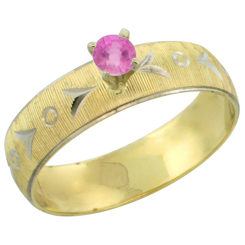 10k Gold Ladies' Solitaire 0.25 Carat Pink Sapphire Engagement Ring Diamond-cut Pattern Rhodium Accent, 3/16 in. (4.5mm) wide, Sizes 5 - 10
