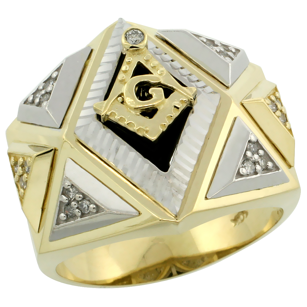 10k Gold Men's Freemasonry Rhodium Accented Masonic Diamond Ring w/ Black Onyx Stone & 0.165 Carat Brilliant Cut Diamonds, 3/4 in. (19mm) wide