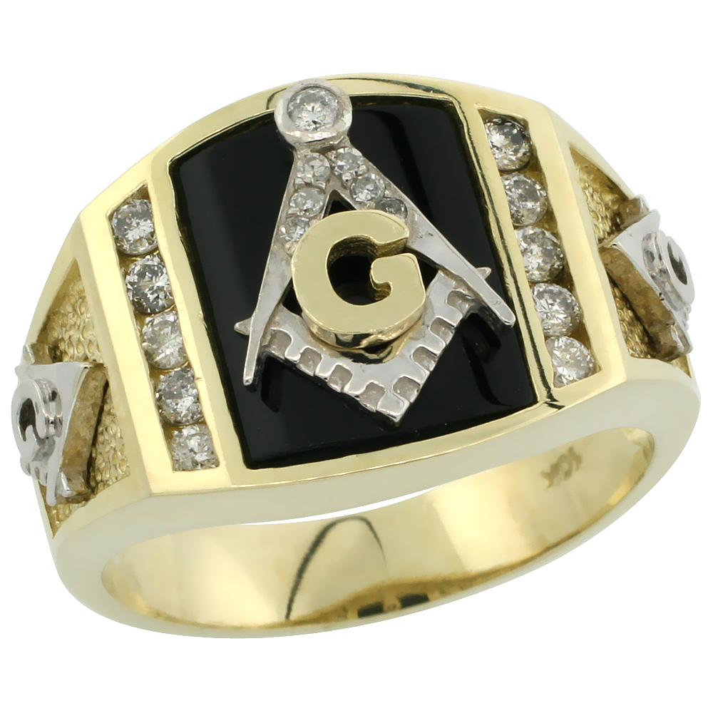 10k Gold Men's Freemasonry Rhodium Accented Masonic Diamond Ring w/ Black Onyx Stone & 0.398 Carat Brilliant Cut Diamonds, 9/16 in. (15mm) wide