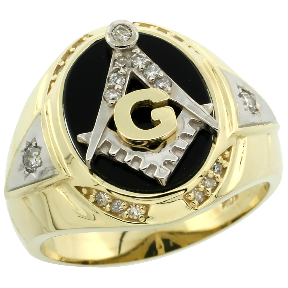 10k Gold Men's Freemasonry Rhodium Accented Masonic Oval Diamond Ring w/ Black Onyx Stone & 0.261 Carat Brilliant Cut Diamonds, 11/16 in. (18mm) wide