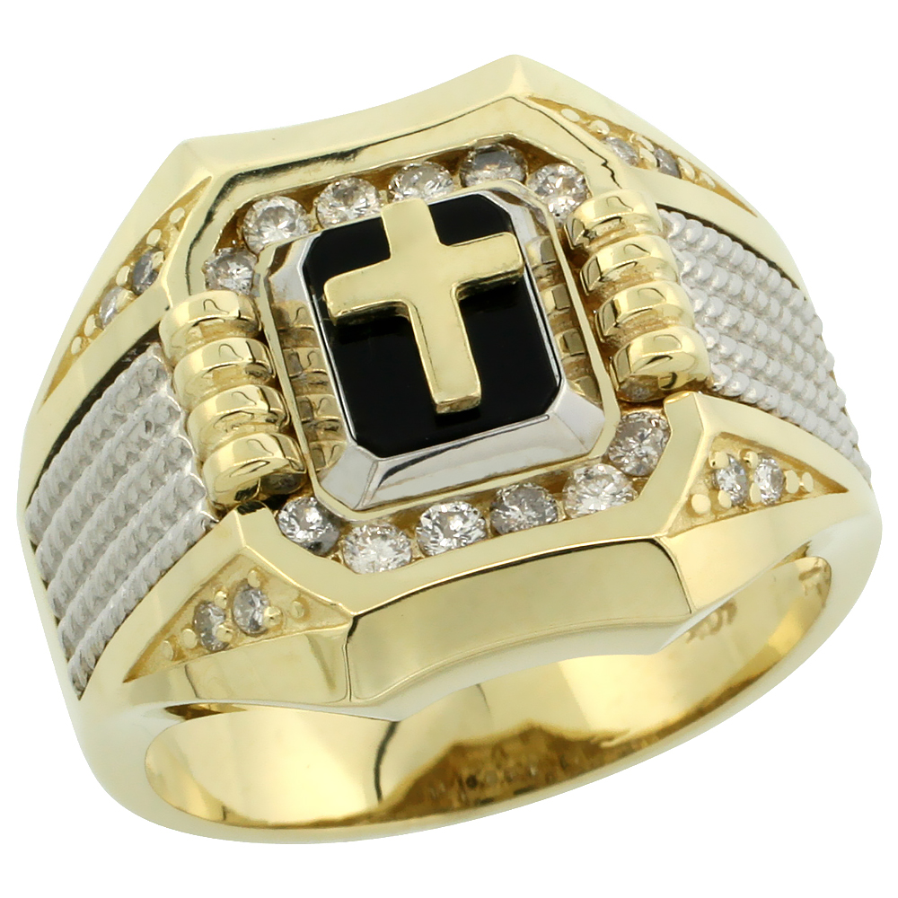 10k Gold Men's Rhodium Accented Square Diamond Cross Ring w/ Black Onyx Stone & 0.37 Carat Brilliant Cut Diamonds, 11/16 in. (17mm) wide