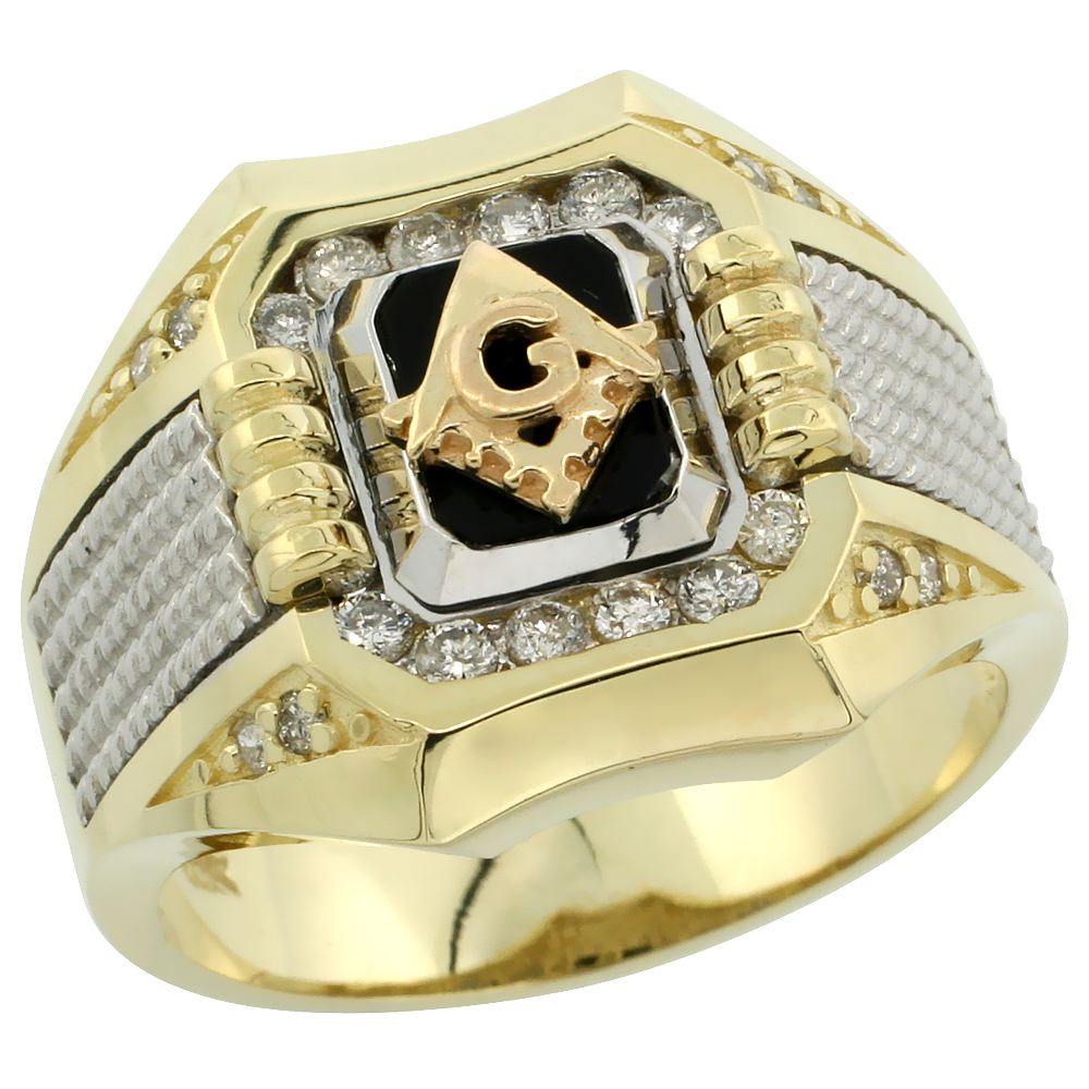 10k Gold Men's Rhodium Accented Square Diamond Masonic Ring w/ Black Onyx Stone & 0.37 Carat Brilliant Cut Diamonds, 11/16 in. (17mm) wide