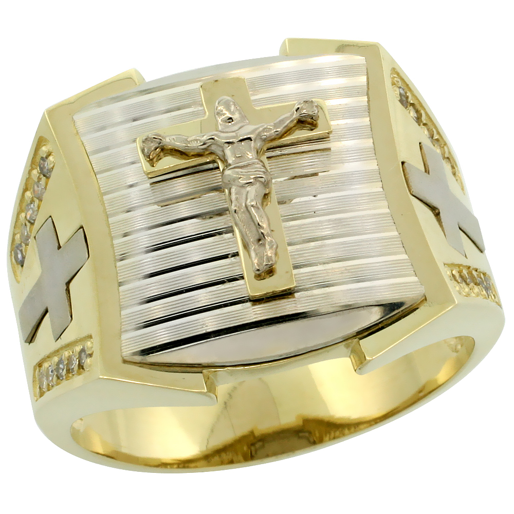 10k Gold Men's Rhodium Accented Square Diamond Crucifix Ring w/ 0.166 Carat Brilliant Cut Diamonds, 11/16 in. (17mm) wide