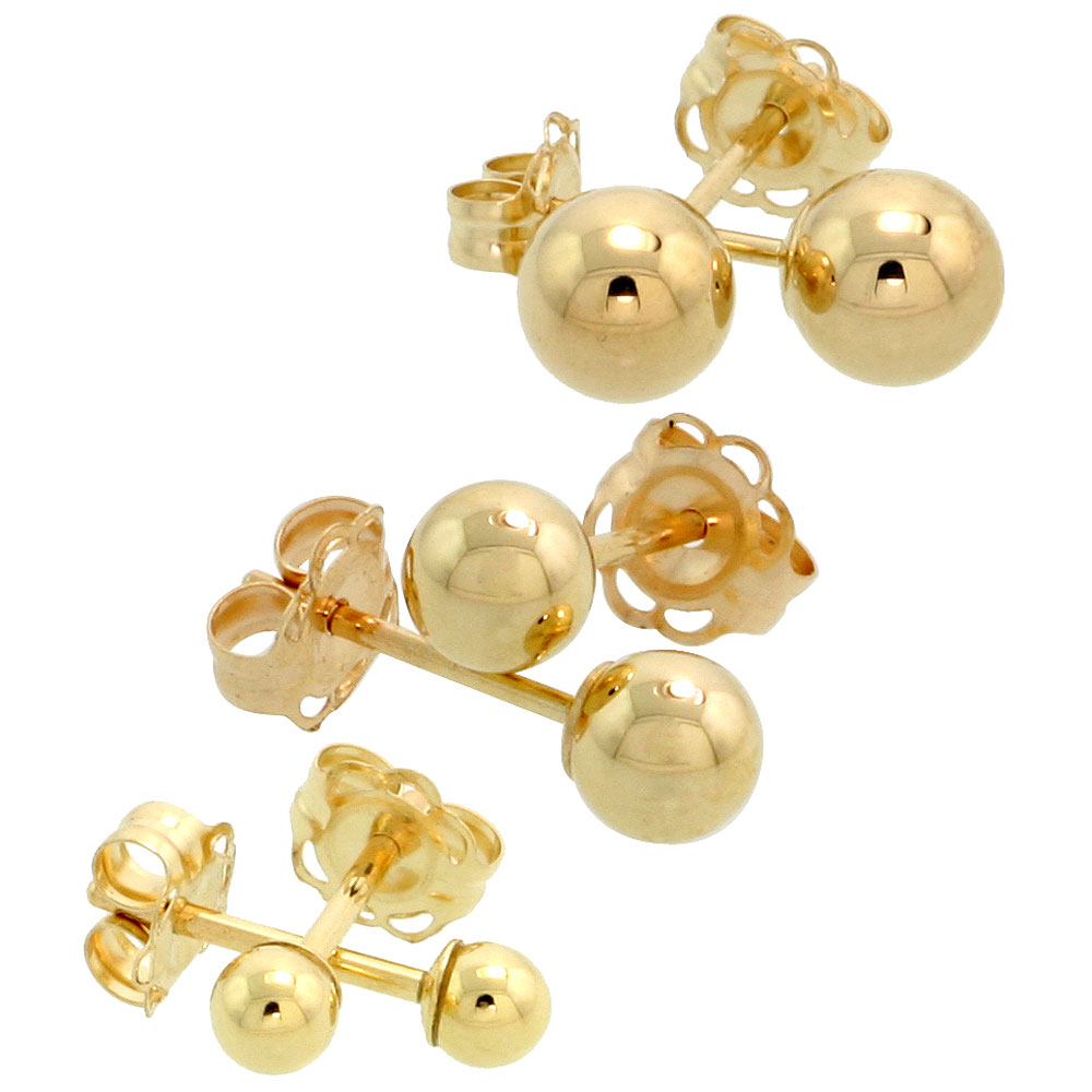 3-Pair 10k Gold Ball Earrings Set / Cartilage Nose Studs, 3mm 4mm 5mm