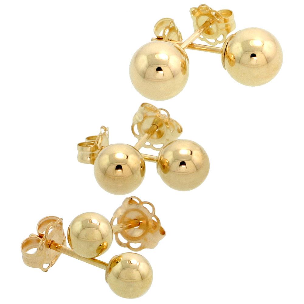 3-Pair 10k Gold Ball Earrings Set 4mm 5mm 6mm