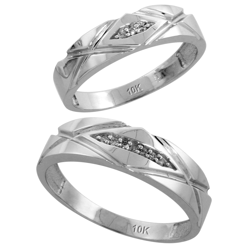 10k White Gold Diamond Wedding Rings Set for him 6mm and her 5mm 2-Piece 0.06 cttw Brilliant Cut, ladies sizes 5 � 10, mens sizes 8 - 14