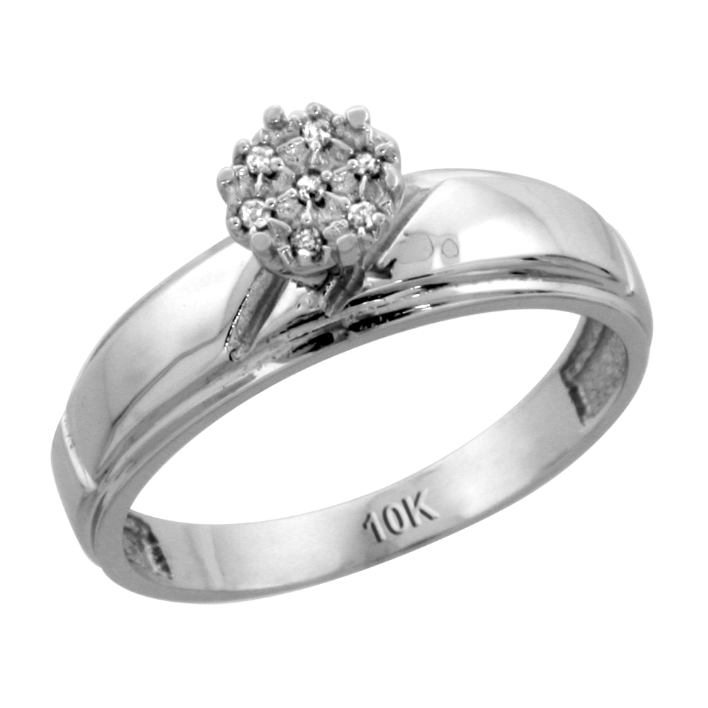 10k White Gold Diamond Engagement Ring 0.04 cttw Brilliant Cut, 7/32 inch 5.5mm wide