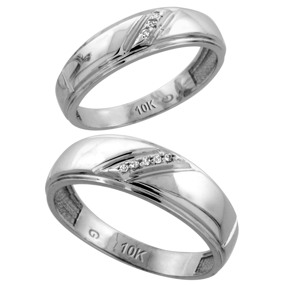 10k White Gold Diamond Wedding Rings Set for him 7 mm and her 5.5 mm 2-Piece 0.05 cttw Brilliant Cut, ladies sizes 5 � 10, mens sizes 8 - 14