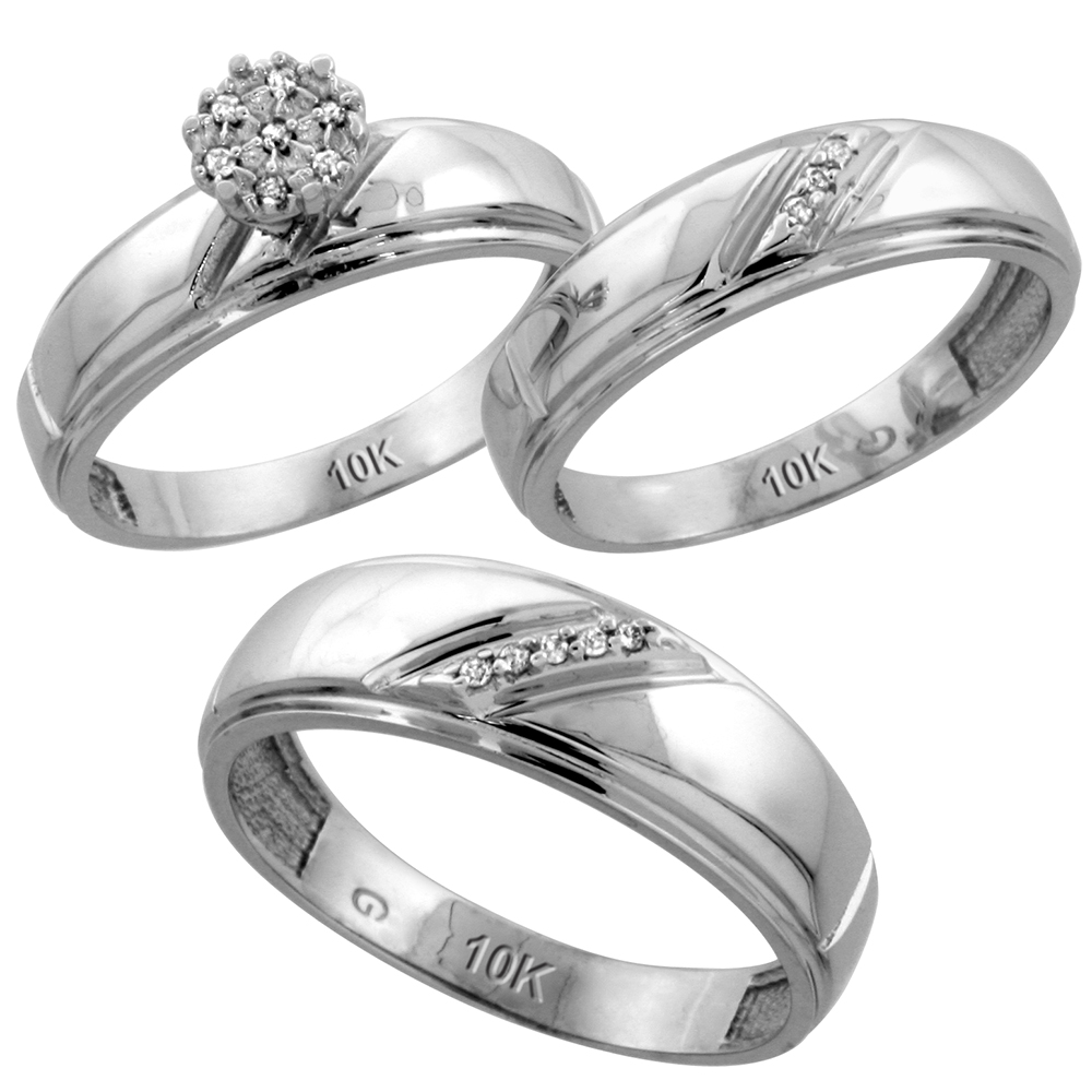 10k White Gold Diamond Trio Wedding Ring Set 3-piece His & Hers 7 & 5.5 mm 0.09 cttw, sizes 5  14