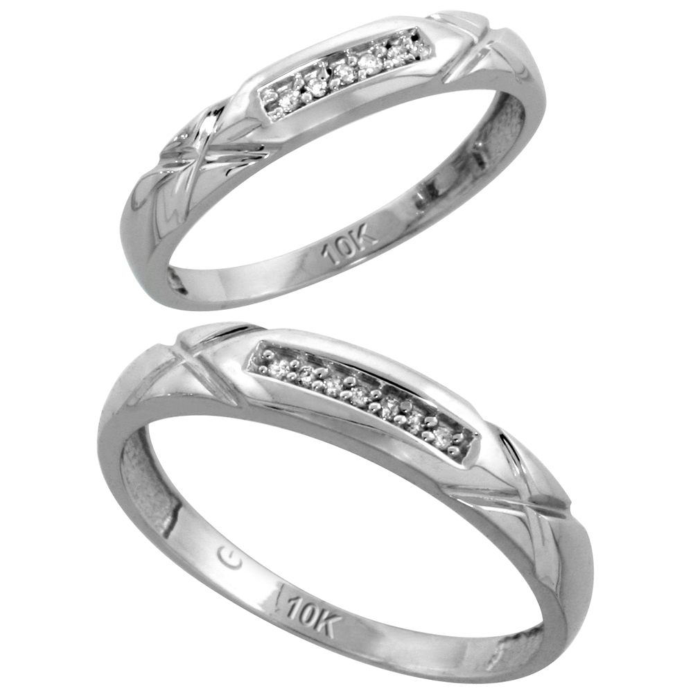 10k White Gold Diamond Wedding Rings Set for him 4 mm and her 3.5 mm 2-Piece 0.07 cttw Brilliant Cut, ladies sizes 5 � 10, mens sizes 8 - 14