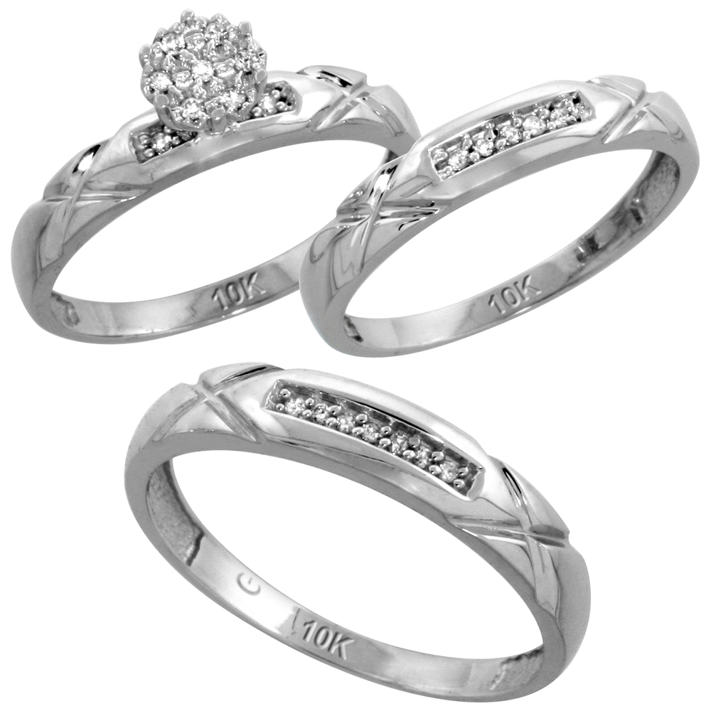 10k White Gold Diamond Trio Wedding Ring Set 3-piece His & Hers 4 & 3.5 mm 0.13 cttw, sizes 5  14