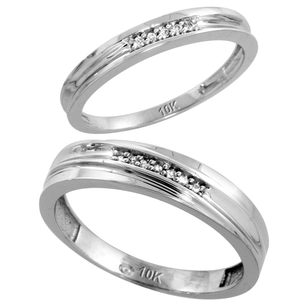10k White Gold Diamond Wedding Rings Set for him 5 mm and her 3 mm 2-Piece 0.06 cttw Brilliant Cut, ladies sizes 5 � 10, mens sizes 8 - 14