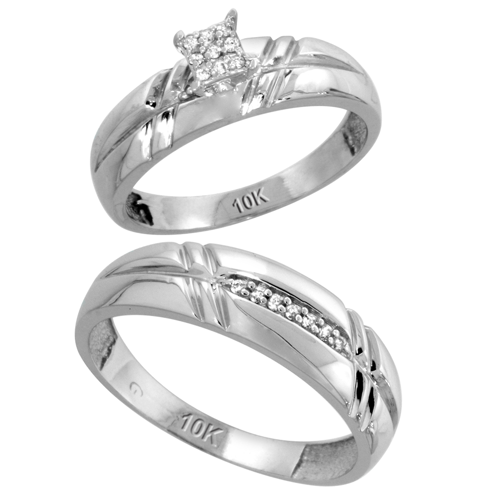 10k White Gold Diamond Engagement Rings Set for Men and Women 2-Piece 0.10 cttw Brilliant Cut, 5.5mm & 6mm wide