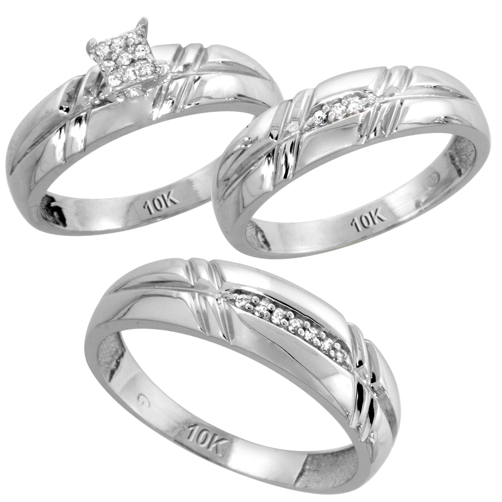 10k White Gold Diamond Trio Wedding Ring Set 3-piece His & Hers 6 & 5.5 mm 0.12 cttw, sizes 5  14