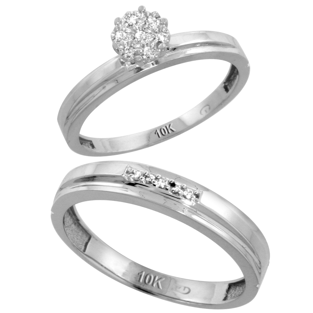 10k White Gold Diamond Engagement Rings Set for Men and Women 2-Piece 0.08 cttw Brilliant Cut, 3mm & 4mm wide