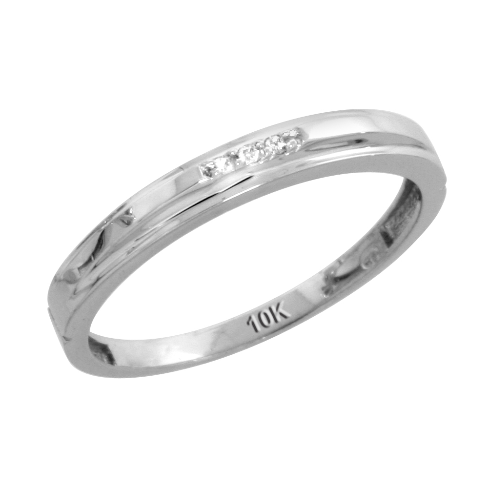 10k White Gold Ladies Diamond Wedding Band Ring 0.02 cttw Brilliant Cut, 1/8 inch 3mm wide