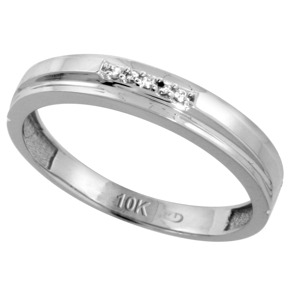 10k White Gold Mens Diamond Wedding Band Ring 0.03 cttw Brilliant Cut, 5/32 inch 4mm wide