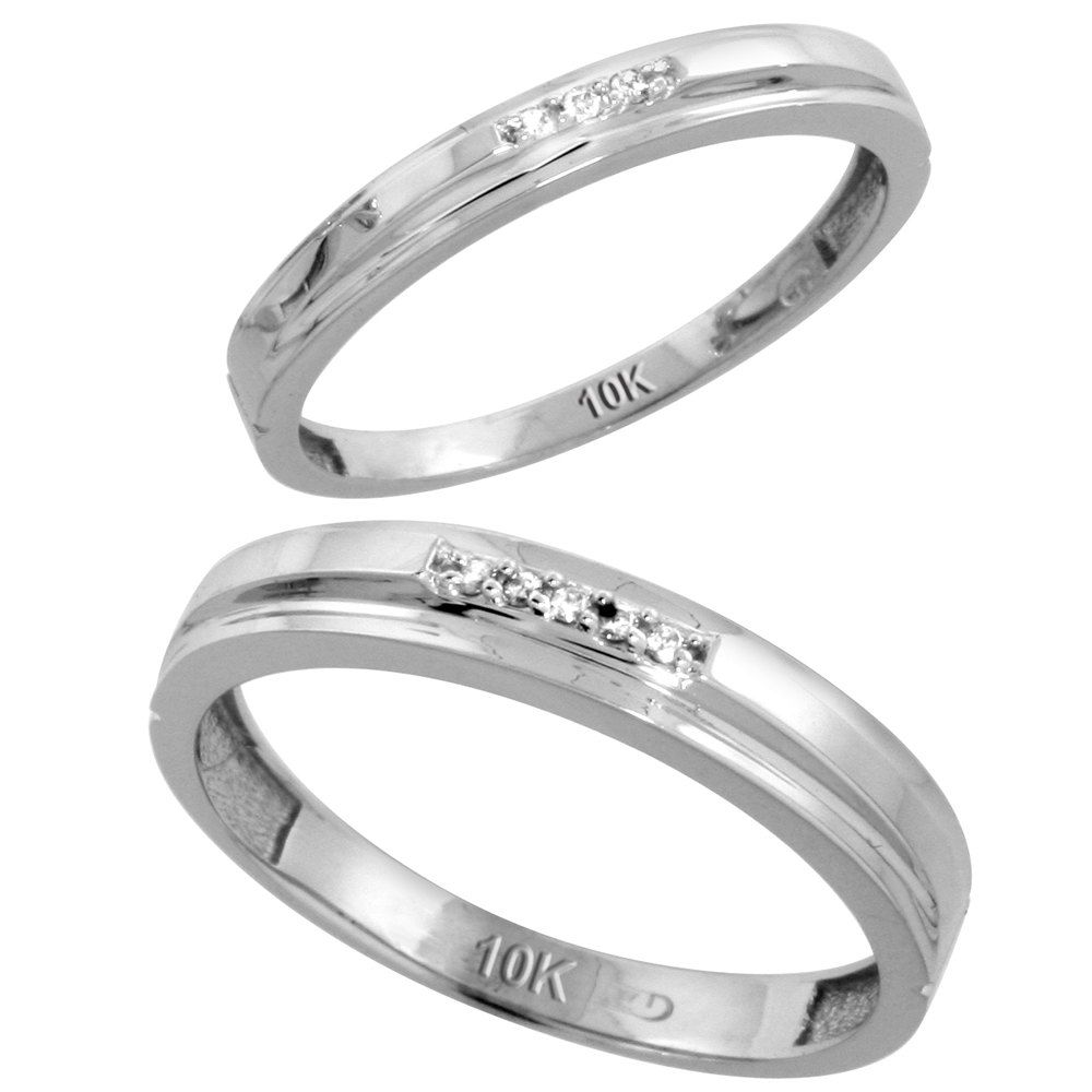 10k White Gold Diamond Wedding Rings Set for him 4 mm and her 3 mm 2-Piece 0.05 cttw Brilliant Cut, ladies sizes 5 � 10, mens sizes 8 - 14