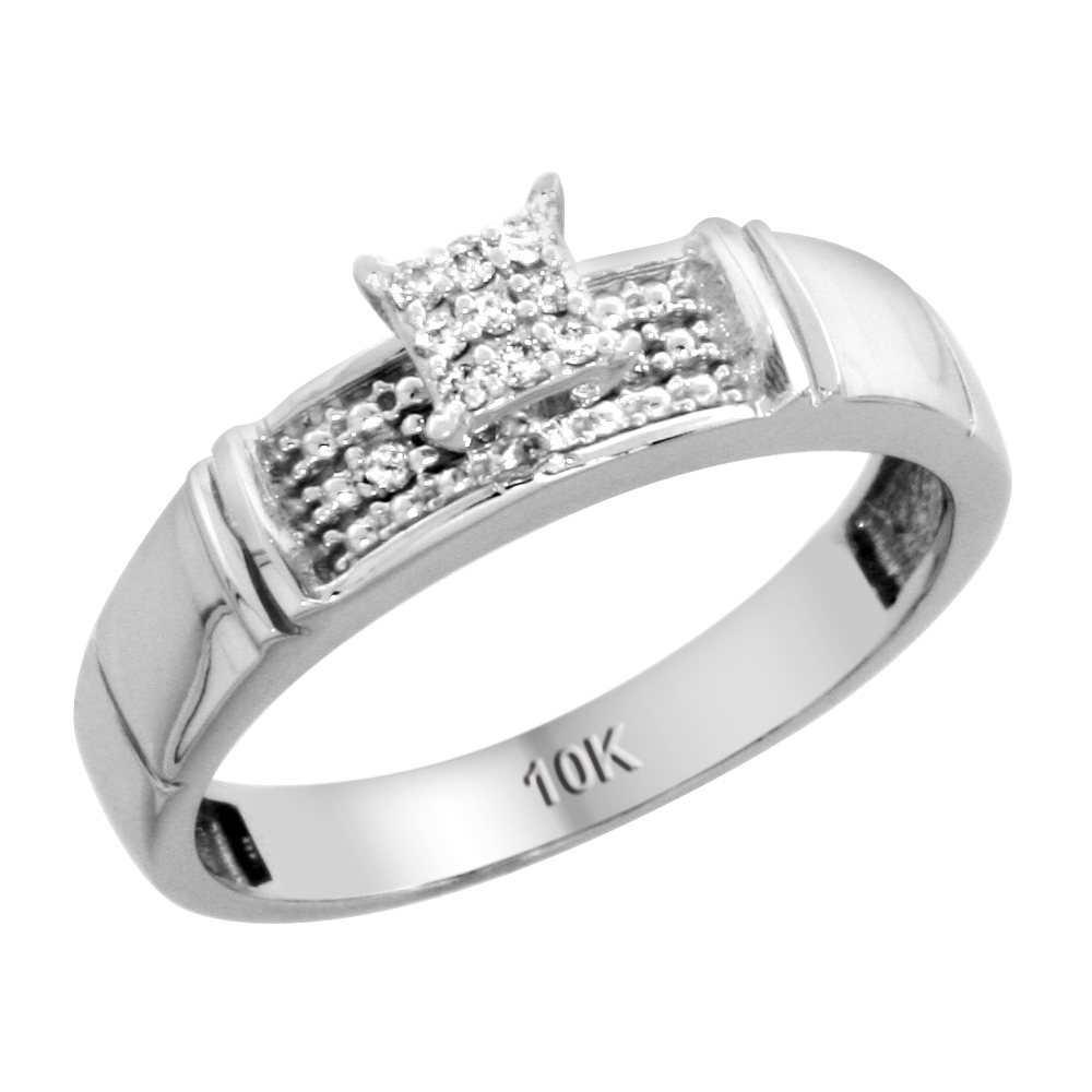 10k White Gold Diamond Engagement Ring 0.07 cttw Brilliant Cut, 3/16 inch 4.5mm wide