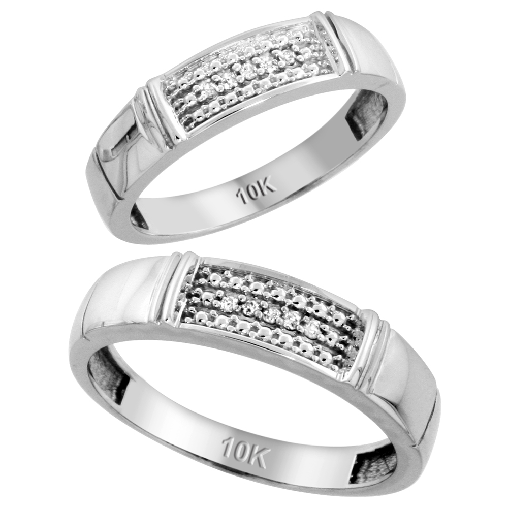 10k White Gold Diamond Wedding Rings Set for him 5 mm and her 4.5 mm 2-Piece 0.06 cttw Brilliant Cut, ladies sizes 5 � 10, mens sizes 8 - 14